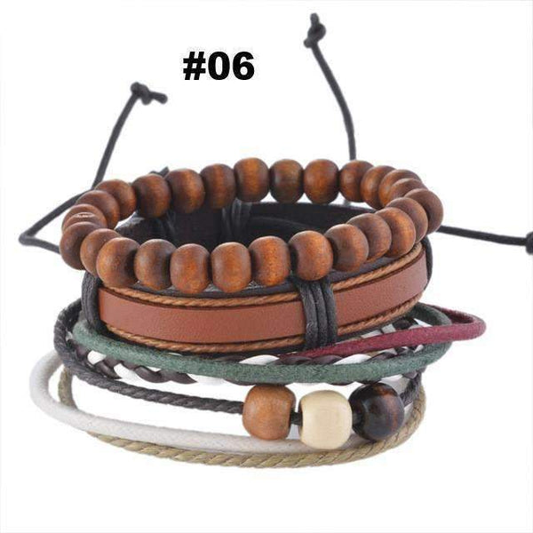 FluxClothings: Multilayer Leather Rope Beads Bracelet,#06