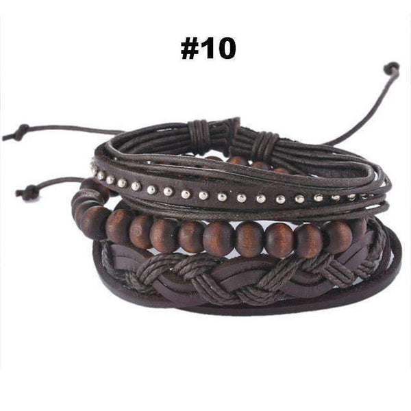 FluxClothings: Multilayer Leather Rope Beads Bracelet,#10