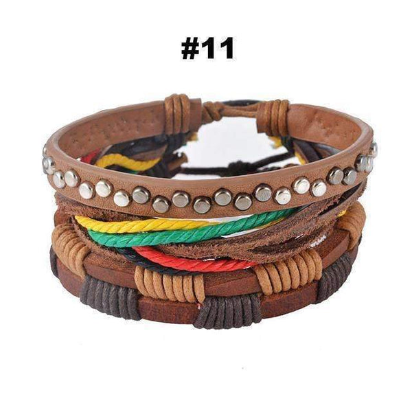 FluxClothings: Multilayer Leather Rope Beads Bracelet,#11