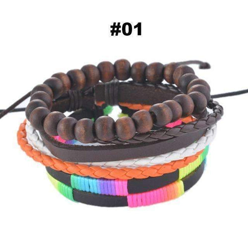 FluxClothings: Multilayer Leather Rope Beads Bracelet,#01