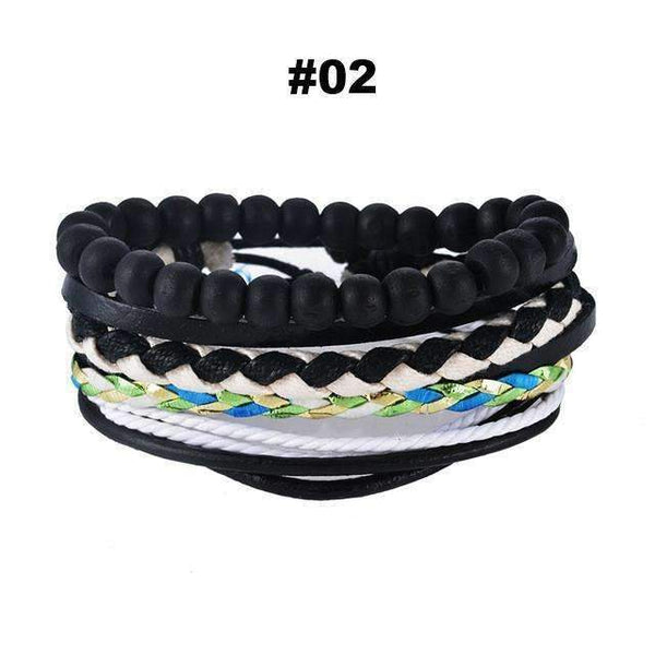 FluxClothings: Multilayer Leather Rope Beads Bracelet,#02