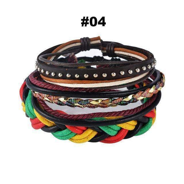 FluxClothings: Multilayer Leather Rope Beads Bracelet,#04