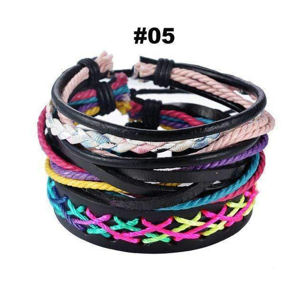 FluxClothings: Multilayer Leather Rope Beads Bracelet,#05