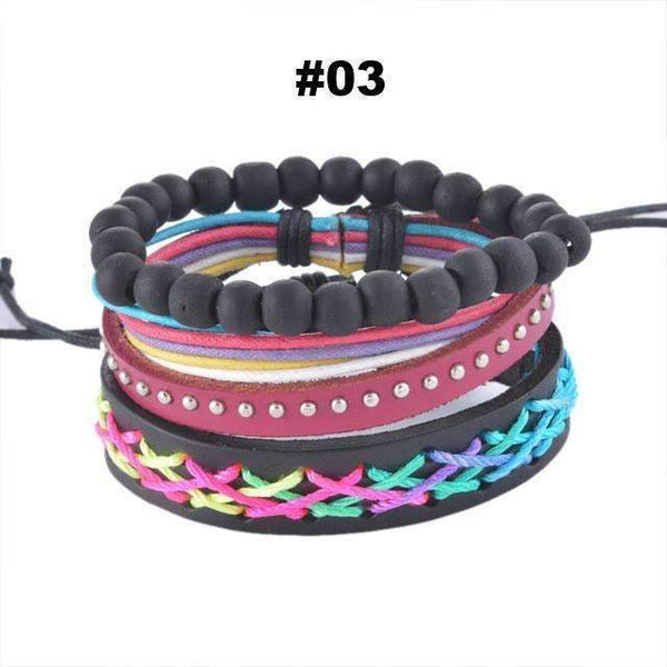FluxClothings: Multilayer Leather Rope Beads Bracelet,#03