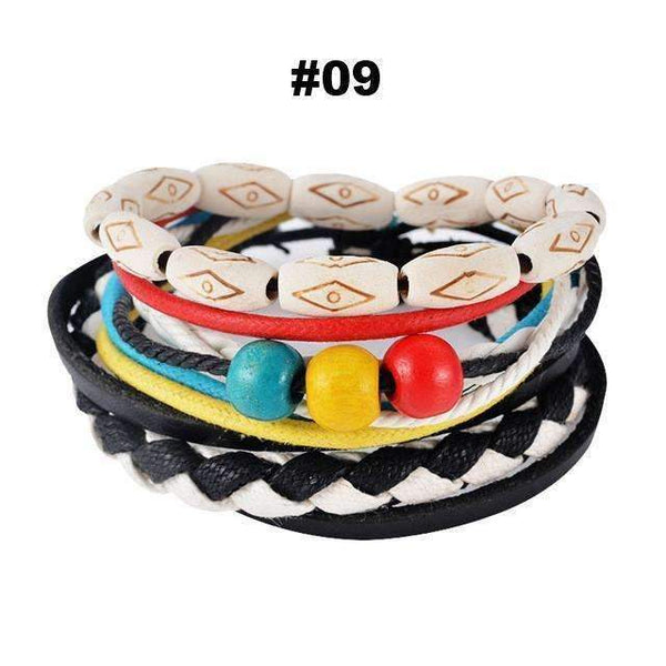 FluxClothings: Multilayer Leather Rope Beads Bracelet,#09