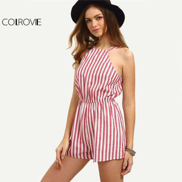 Sleeveless Vertical Stripe Backless Romper - FluxClothings