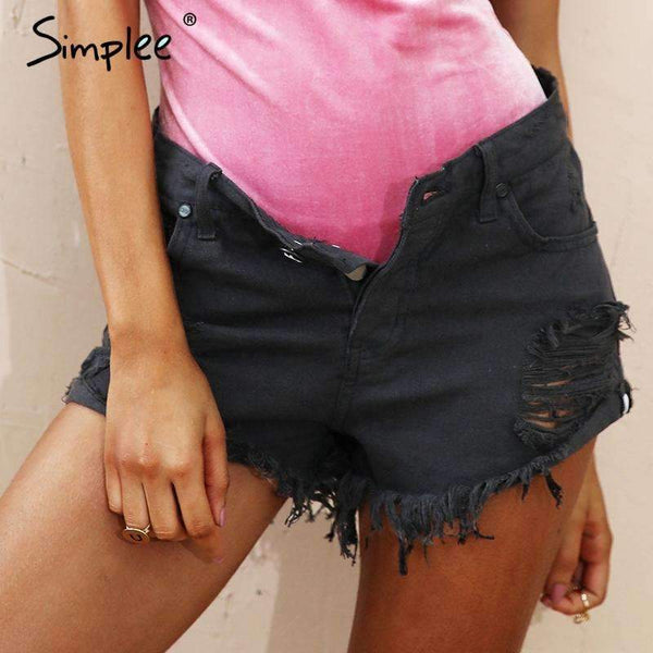 Vintage Ripped Denim Shorts - FluxClothings