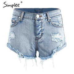 FluxClothings: Vintage Ripped Denim Shorts,Light Blue / 25