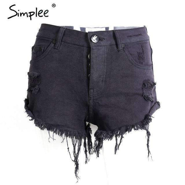 FluxClothings: Vintage Ripped Denim Shorts,Black / 25