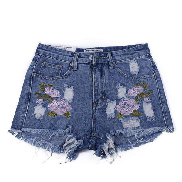 Floral High Waist Denim Shorts - FluxClothings