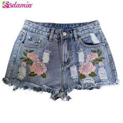 FluxClothings: 2017 Fashion Embroidery Denim Shorts Floral High Waist Jeans Short Femme Frayed Hole Shorts For Women Plus Size Summer Shorts,Sky Blue / XXL