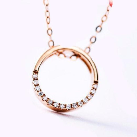 Rose Gold Diamond Circle of Life Necklace
