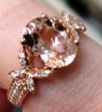 Morganite Gemstone and Diamond Rose Gold Engagement Ring