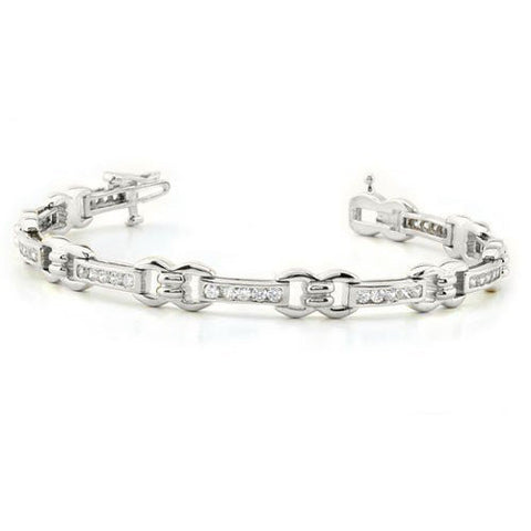 Diamond Tennis Bracelet in knot design set in 14KT White,Yellow or Rose Gold