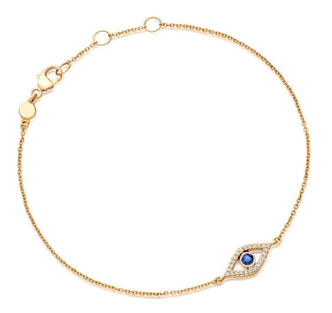 Diamond and Sapphire Evil Eye 14Kt Gold Bracelet