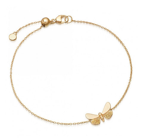 Diamond Butterfly on thin 14Kt Yellow Gold Chain Bracelet