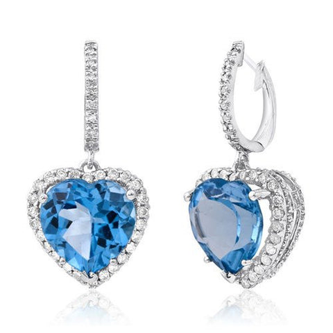 Blue Topaz gemstones and round Diamonds set in 14KT White Gold Earrings