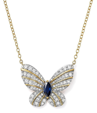 Sapphire and Diamonds Butterfly Necklace