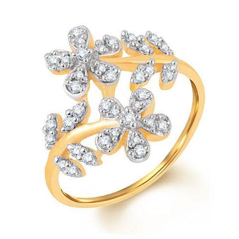 Diamond Flower 14KT White, Yellow, Rose Gold Ring