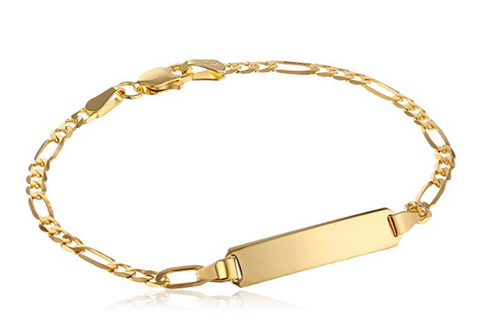 Baby Bracelet in 9kt Yellow Gold Chain and Engraving Bar
