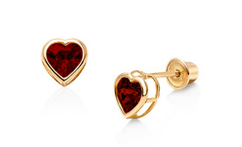 Heart Shaped Birthstone set in 14Kt Gold Child Earrings