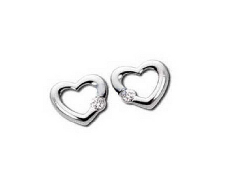 Heart Shaped Stud Earrings with Diamond
