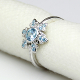 Aquamarine Gemstone on 14kt White Gold in a Snowflake Design Ring