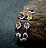 Amethyst, Peridot and Garnet Gemstones with Diamonds on White Gold Bracelet