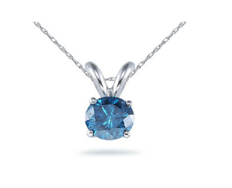 Aquamarine Gemstone on White Gold Pendant Necklace