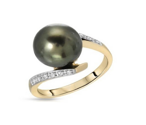 Tahitian Pearl Gemstone on Yellow Gold and Diamond Ring