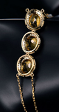 Citrine Gemstones with Diamonds on a Yellow Gold Bracelet