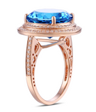 Topaz 10.15ct Gemstone surrounded by double Diamond halo on Rose Gold Ring