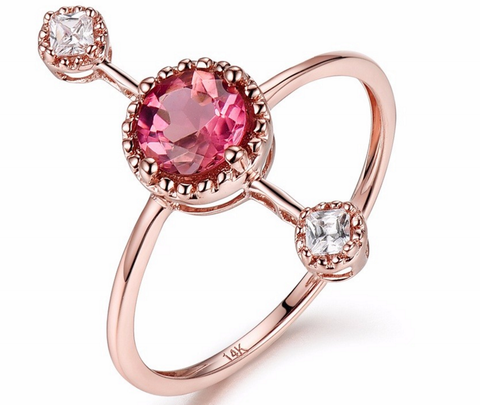 Tourmaline Gemstone Ring on Rose, Yellow, White Gold with Diamonds on the sides