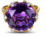 Purple Amethyst Gemstone with Diamonds on 14Kt Yellow Gold