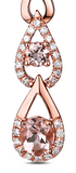 Morganite Gemstones and Diamonds on 14kt Rose Gold Drop Earrings