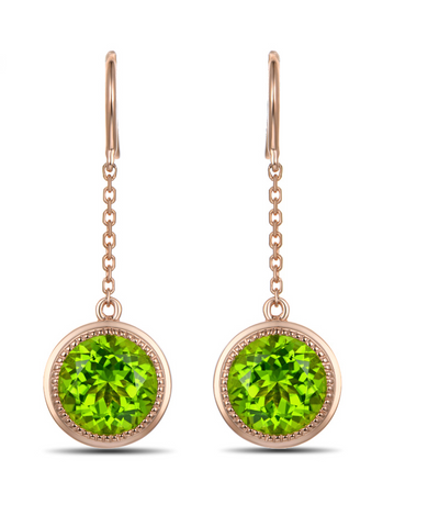 Peridot Gemstones on 14Kt Yellow Gold Drop Earrings