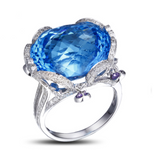 Blue Topaz 23ct Center Gemstone with Amethyst and Diamond Side Stones on White Gold Ring