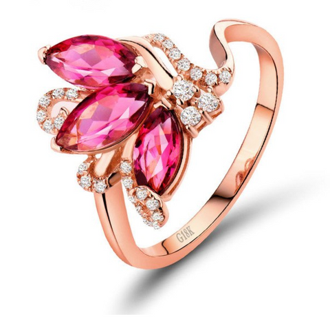 Pink Tourmaline Gemstones and Diamonds on 18kt Rose Gold Ring