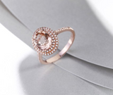 Morganite Gemstone with Diamonds on Rose Gold Ring