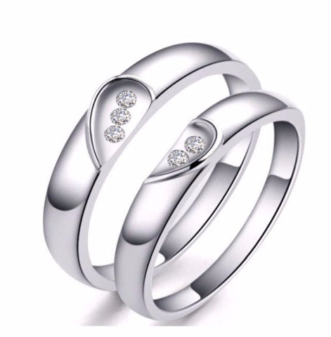 Couple Love-Heart Wedding Rings