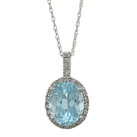 Topaz Gemstone surrounded by Diamonds Pendant Necklace