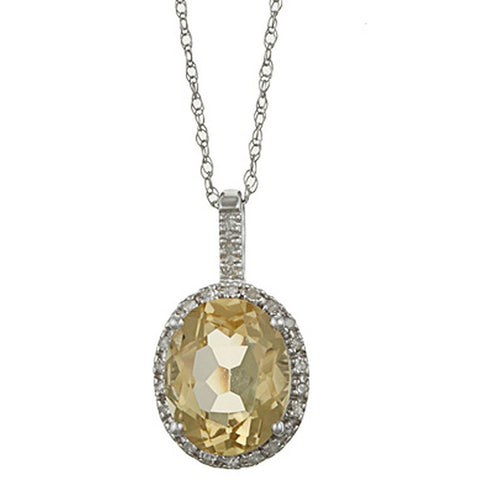 Citrine Gemstone surrounded by Diamonds Pendant Necklace