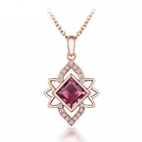 Pink Tourmaline Gemstone Pendent with Diamonds on Rose Gold Necklace