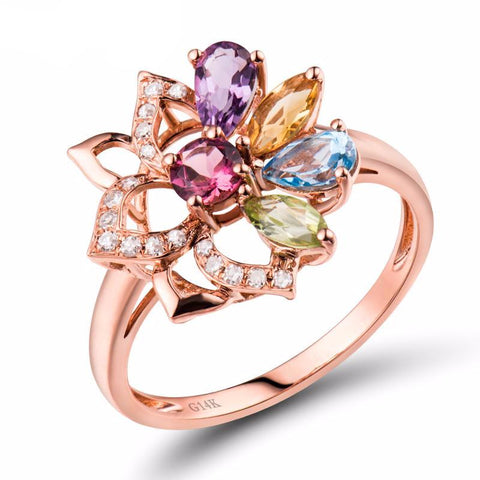 Tourmaline, Peridot, Amethyst, Citrine, Topaz Gemstones and Diamonds on Rose Gold Ring