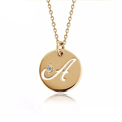 White, Yellow or Rose 18Kt Gold Personal Letter Necklace