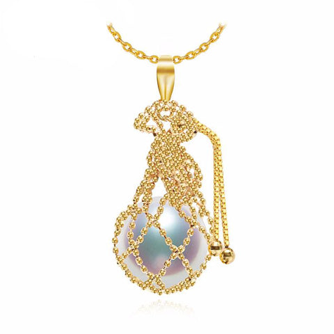 Pearl Stone in a Yellow Gold bag Necklace