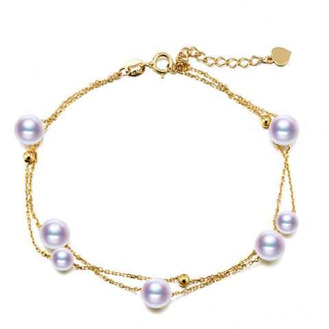 Akoya Pearls on 18Kt Yellow Gold Chain Bracelet