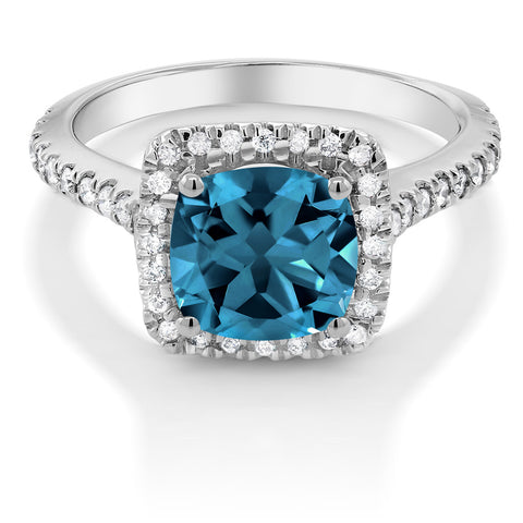 London Blue Topaz Gemstone on a White Gold Diamond Ring