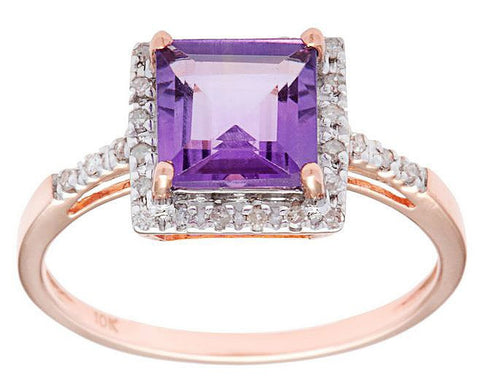 Amethyst Gemstone and Diamond Ring in White, Yellow and Rose Gold