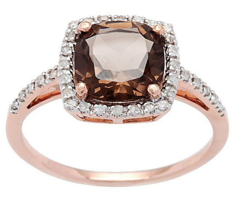 Smokey Quartz Gemstone and Diamond Rose Gold Ring